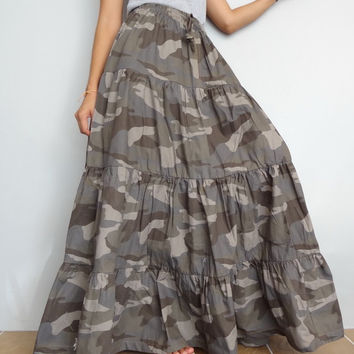 Women Casual CAMO Long Skirt,Ruffle Patchwork ,100% Cotton Lightweight (Skirt *R4).