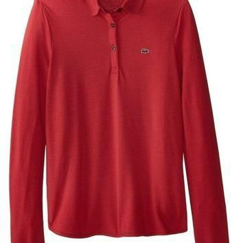 Outlet LaCoste Red Long Sleeve Polo Shirt
