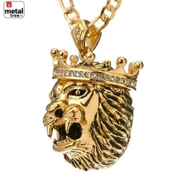 "Jewelry Kay style Men's Hip Hop Gold Silver Toned Lion Head Pendant 24"" Figaro Chain Necklace Set"