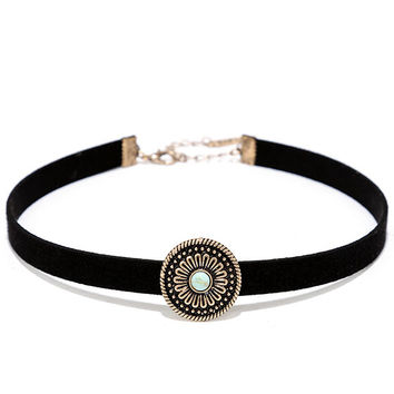 Soul's Desire Black and Gold Choker Necklace