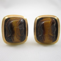 Cameo Cufflinks Tiger Eye Cuff Links Carved Stone 12k Gold Filled Men's Jewelry Gifts for Men Wedding Jewelry