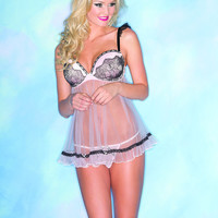 Pink Sheer Black Lace Padded Sexy Chemise