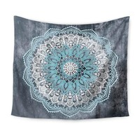 Grey, Blue and White Cute Mandala Tapestry