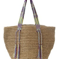 Straw Beach Bags - Fallon + Royce Natural/Rainbow