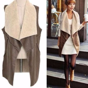 Women's Brown Smooth Faux Leather Vest with Fleece Detail