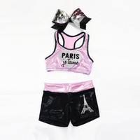 Paris Inspired workout set includes sports bra, shorts and bow