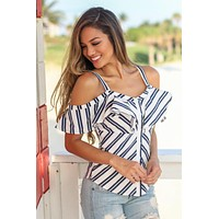 White and Navy Striped Cold Shoulder Top