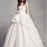 [179.99] Fabulous Tulle & Organza Jewel Neckline Ball Gown Wedding Dresses With Lace Appliques - dressilyme.com