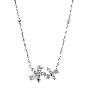 Double Flowers of Love Necklace in 18k White Gold