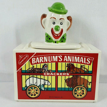 Vintage McCoy Barnum's Animal Crackers Cookie Jar 1972 #152