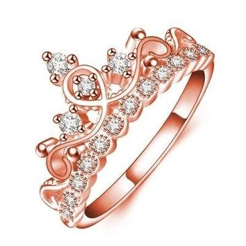 Rose Gold or Silver Princess Tiara Ring CZ Free Gift Box