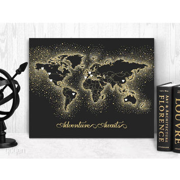 World Map Print - Black/Gold Dots Stickers Included!