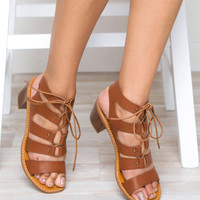 Yvette Lace Up Low Heel Sandal