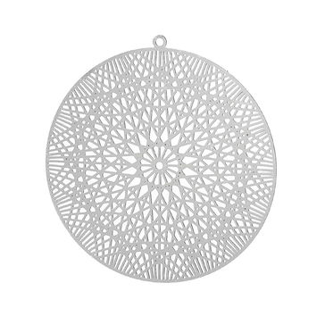 "DoreenBeads Filigree Stainless Steel Charm Pendants Round Silver Tone Flower Hollow 45mm(1 6/8"") x 43mm(1 6/8""), 1 Piece"