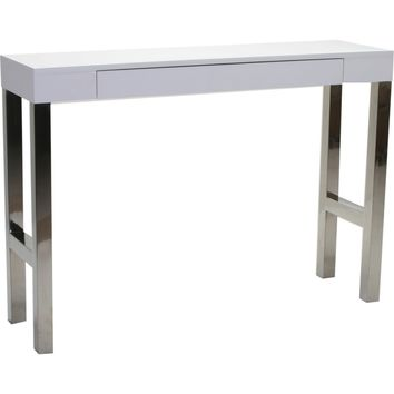 Tura Console Sofa Table White Lacquer Top Polished Stainless Base