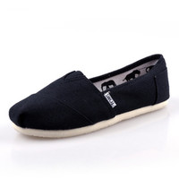 Men Women Soft Casual Canvas Summer Breathable TOMS Shoes Black Flats