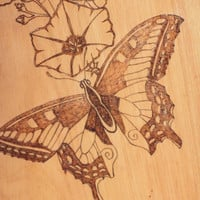 Wood burned Butterfly Wall Plaque; Woodburned Butterfly Wall Plaque; Wood burned Butterfly Wall Hanging;  Woodburned Butterfly Wall Hanging