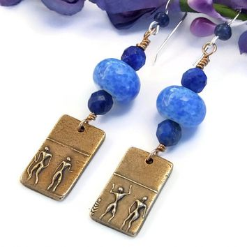 """Under the Blue Desert Sky"" Bronze Tribal Earrings with Lampwork and Lapis Lazuli"