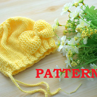 Baby Hat Pattern Newborn hats beanie PDF Knitting Baby girl hat with bow Pattern Download Easy Knit Instant Download Girls Tutorial patterns