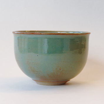 Handmade pottery, Turquoise and light brown stoneware bowl, decorative bowl, cereal bowl, candy bowl, ice cream bowl, mother's day gift