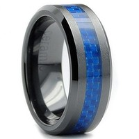 8MM Flat Top Men's Black Ceramic Ring Wedding Band With Blue Carbon Fiber Inaly Sizes 5 to 15