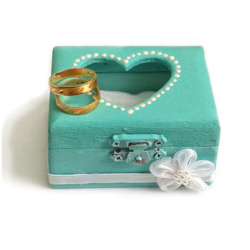 RING BOX with Pillow, WEDDING  mint green ring box, Ring Bearer Box with Pillow, Wedding box, Ring box
