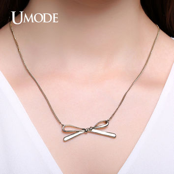 UMODE Unique Rope Bowknot Necklaces & Pendants Vintage Jewelry for Men Women Minimalist Design Collar Necklace