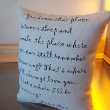 Wife 2nd anniversary gift Peter Pan pillow cotton throw pillows easy gift for spouse