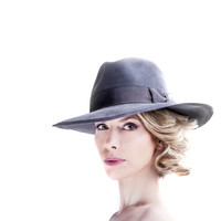 Grey Velour Fedora Hat - Large Brim Felt Hats - Autumn Accessory - Gray Winter Trilby - Womens Accessories - AW14/15