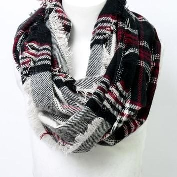 Ivory Red Black Plaid Flannel Infinity Scarf
