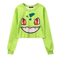 Bulbasaur 3-D Pokemon Printed Women's Crop Top Sweatshirts ONE SIZE