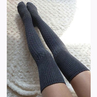Grey Long Sock Knit  High Booties Sock Student Uniform Sock Black Knit Sock For Students (LL33)