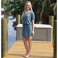Anchor Henley Tee Dress with Drawstring - Blue-Gray