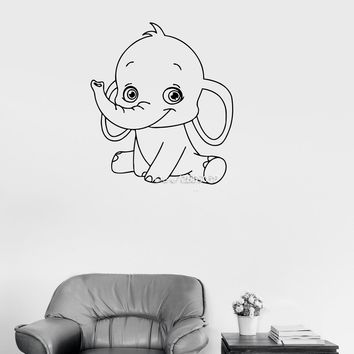 Baby Elephant Cute Animal Wall Stickers Decor Baby Kids Room Wall Sticker E-co Friendly Vinyl Wallpaper Mural SA824