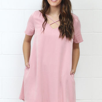 Simple Criss Cross Strappy Pocket Dress {Blush}