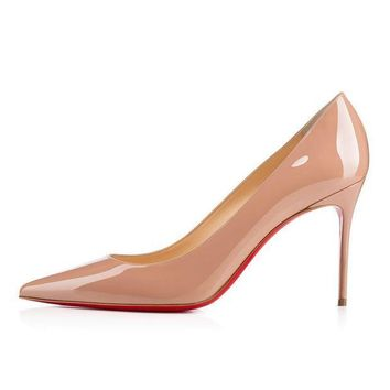 PEAPUX5 christian louboutin cl decollete 554 nude patent leather 85mm stiletto heel classic