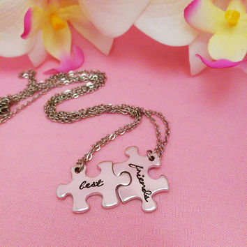 Best Friend Puzzle Necklace - Interlocking Puzzle Piece Necklace - Hand Stamped