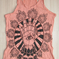 Women's size L Cute Om  Sign Yoga Outfit Tank Top Ganesha Buddha T-shirt Boho