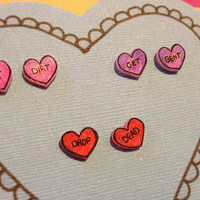 Set of three heart-shaped post earrings for the angry feminist