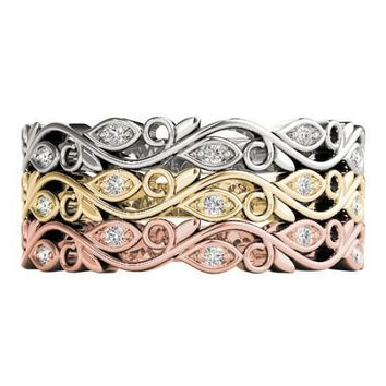 Stackables 3/4 Eternity Tri-Tone Gold Marquise Bezel Vines 3-Band Set