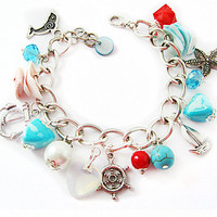 Marine style bracelet with pendants made of shells and beads Moonstone Turquoise for vacations