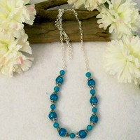 Turquoise Beaded Chain Necklace, 31