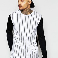 ASOS Longline Long Sleeve T-Shirt With Vertical Stripe And Contrast Sleeve at asos.com