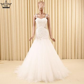 2018 Sexy Backless Mermaid Wedding Dress White Pearls Sequined Lace Train Bride Dress Robe De Mariee Serene Hill