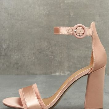 Report Meyer Blush Satin Ankle Strap Heels