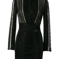 DCCKIN3 Pierre Balmain Lace Panel Fitted Dress