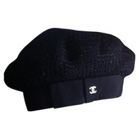 Black wool hat CHANEL Black