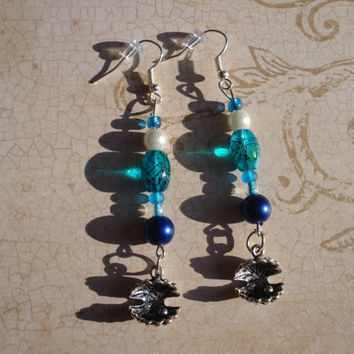 Shell Earrings - Oyster - Dangle - Clam - Shell - Pearl - glass - ocean - blue - silver - Long - beach jewelry - summer