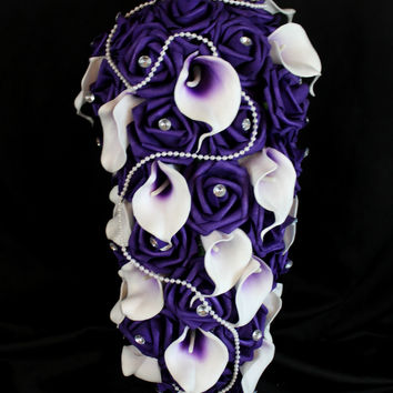 Purple Cascading Rose & Calla Lily Wedding Bouquet Collection