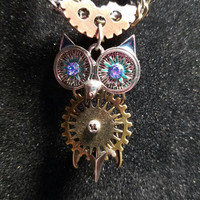 Steampunk owl necklace, owl and gear necklace, steampunk jewelry, steampunk necklace, owl jewelry, owl necklace, gear necklace, blue owl
